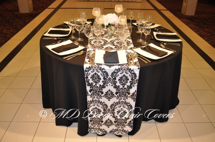 BLACK-PRINTS-ON-WHITE-DAMASK-SATIN-LAMOUR-RUNNER