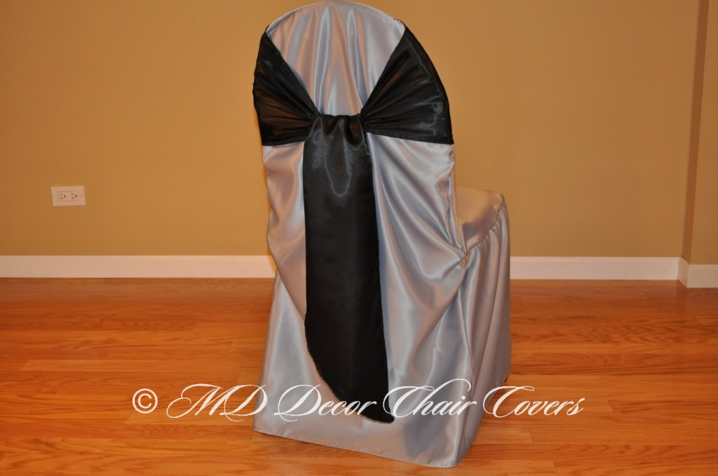 BLACK SATIN LAMOUR SASH FLIPPED OVER STYLE
