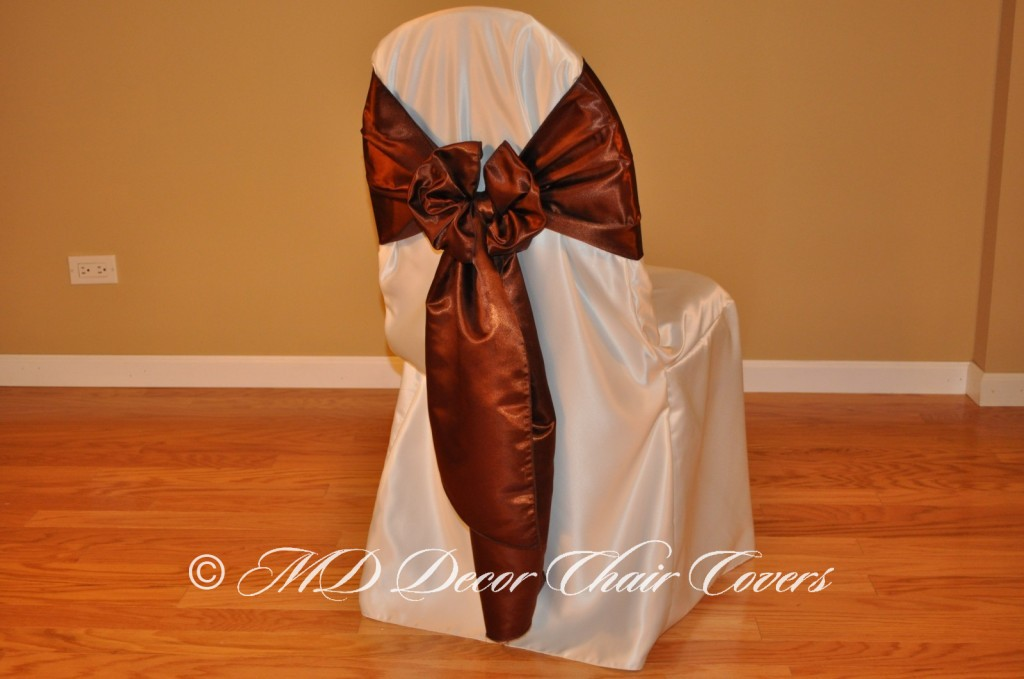 BROWN SATIN LAMOUR SASH BUTTERFLY STYLE