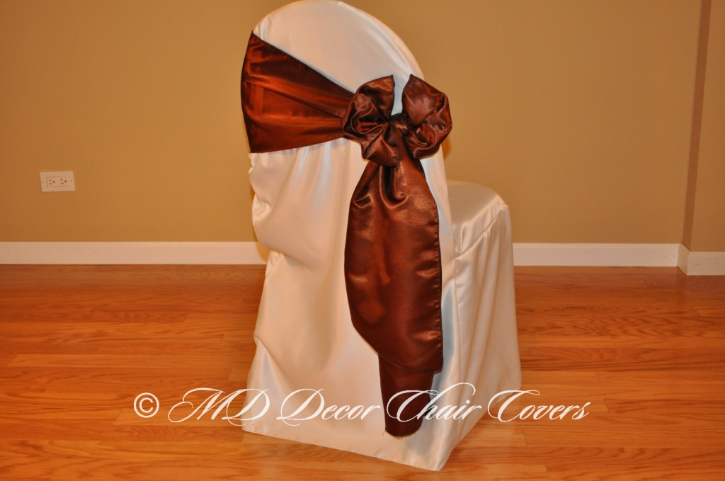 BROWN SATIN LAMOUR SASH BUTTERFLY STYLE TO THE SIDE