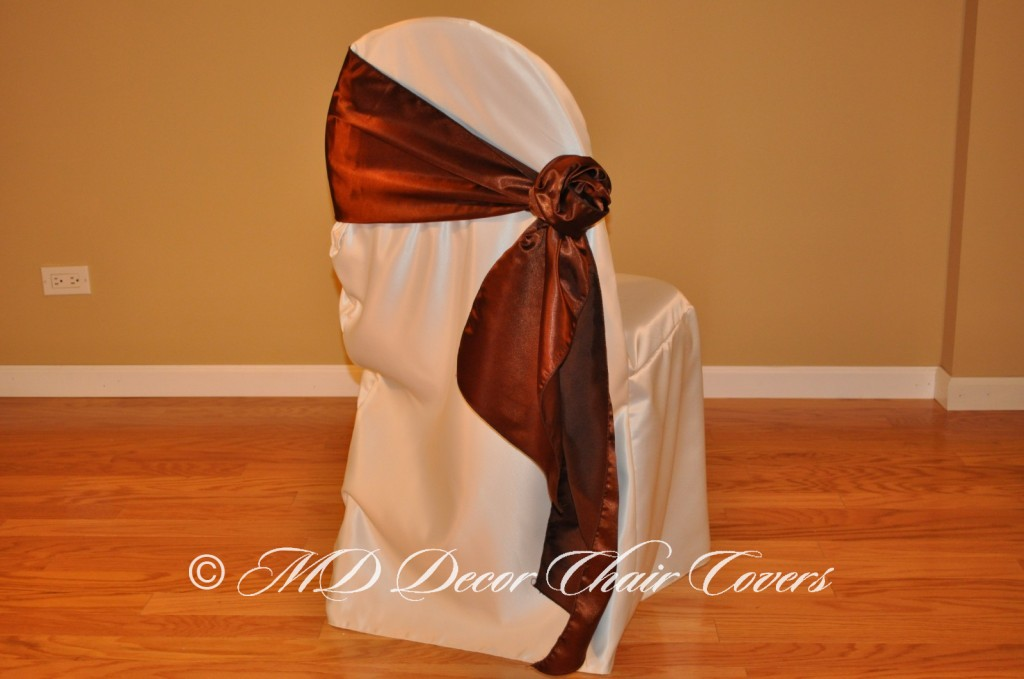 BROWN SATIN LAMOUR SASH ROZE STYLE TO THE SIDE