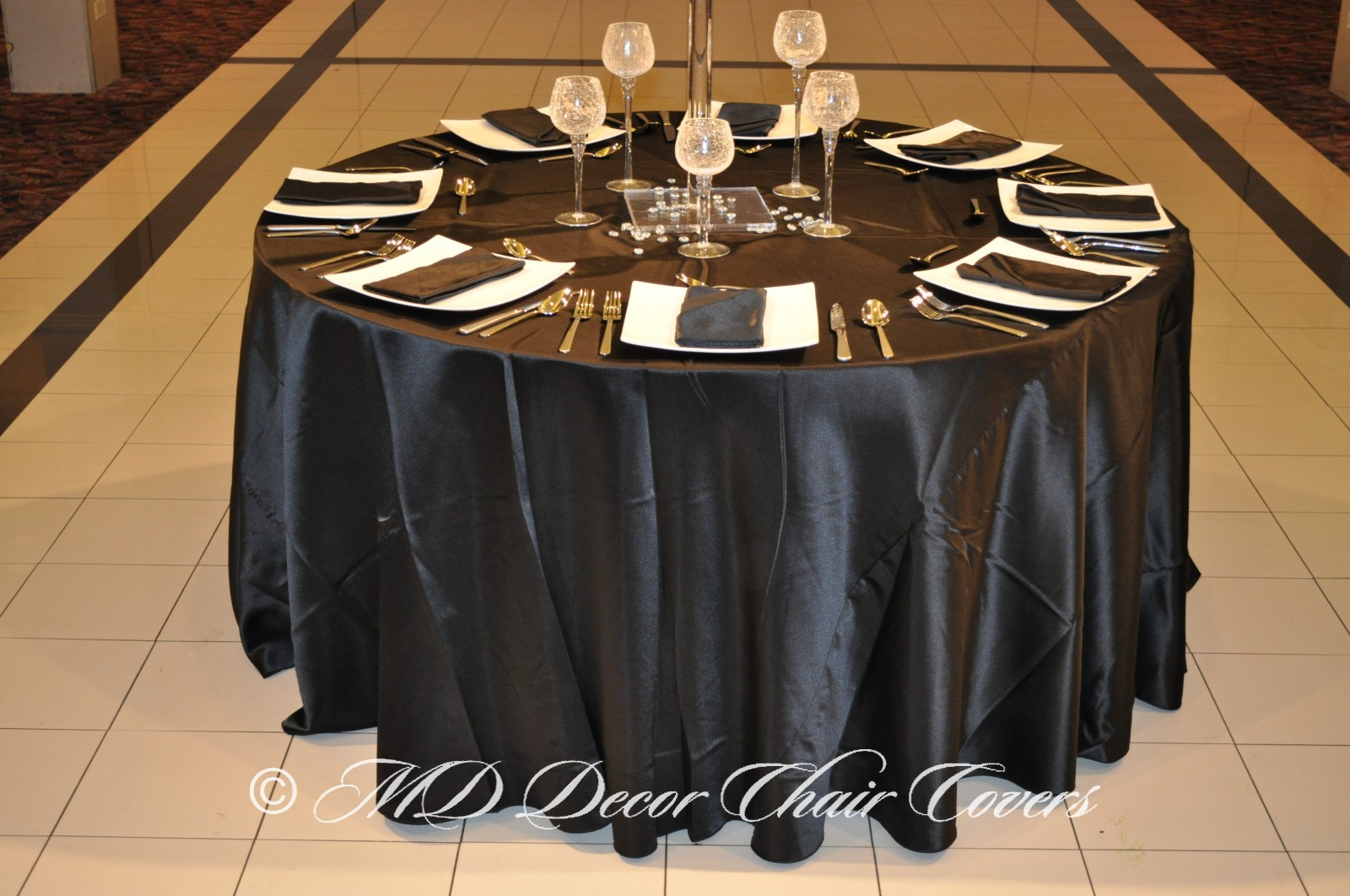 Black Satin Lamour Tablecloth