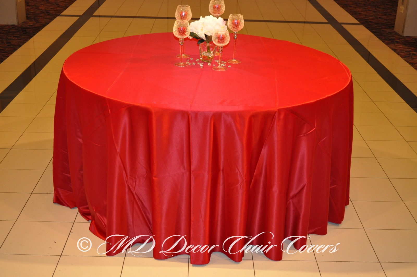 Cranberry Satin Lamour Tablecloth | MD Decor