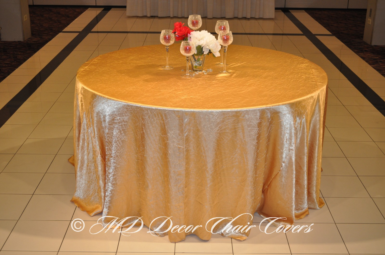 Gold Crushed Satin Tablecloth | MD Decor