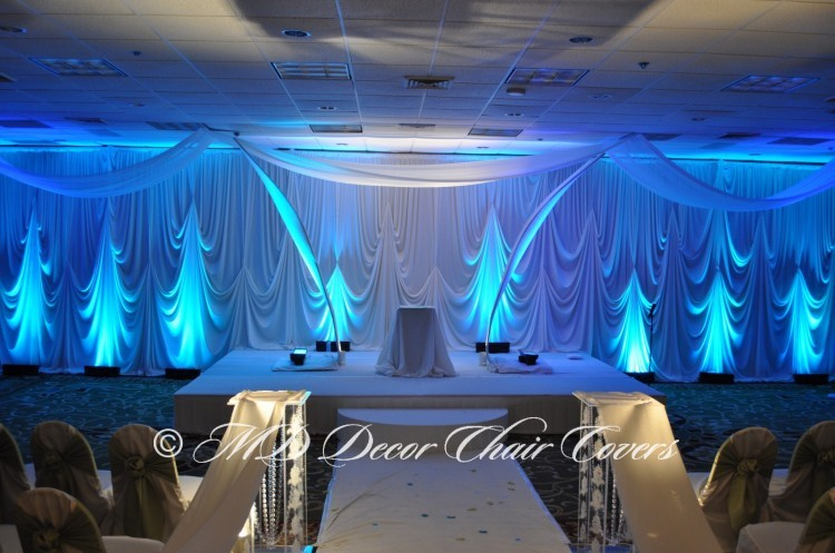 Ivory Backdrop with Blue LED Up Lights