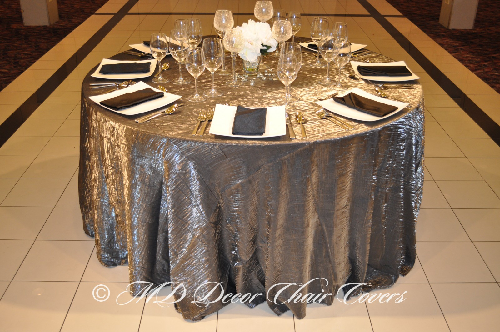 Silver Crushed Satin Tablecloth