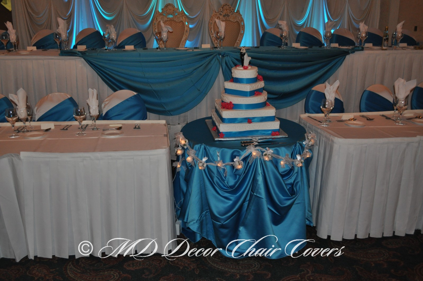 Turquoise satin lamour tablecloth with turquoise satin lamour sash