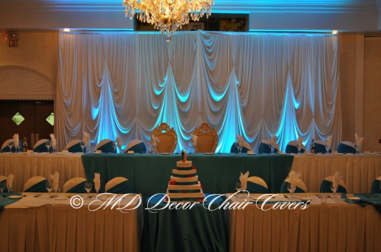 White Backdrop with Turquoise LED Up Lights